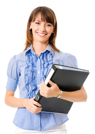 Portrait of young happy smiling businesswoman with black folder, isolated on white background Banque d'images - 115400774