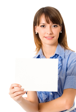 Happy young business woman showing blank signboard, isolated on white background Banque d'images - 115400778