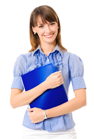 Portrait of young happy smiling businesswoman with blue folder, isolated on white background Banque d'images - 115400793
