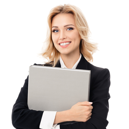 Portrait of young happy smiling businesswoman with grey folder, with blank copyspace area for slogan or text, isolated against white background Фото со стока