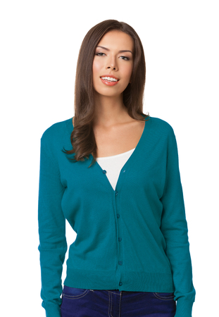 Bright picture of happy smiling young woman in blue casual smart clothing, isolated against white background