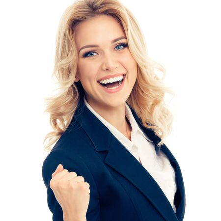 Happy gesturing business woman, isolated over white colorbackground. Caucasian blond model in business success concept. Banco de Imagens