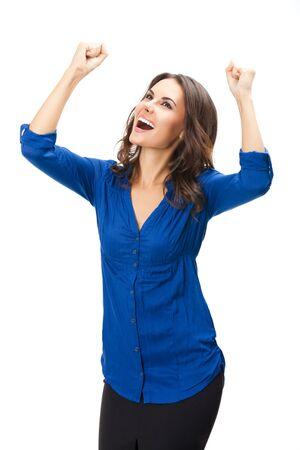 Heureux heureux gesticulant jeune femme d'affaires confiante, isolée sur fond blanc. Modèle brune caucasienne en image de studio de concept d'entreprise. Banque d'images