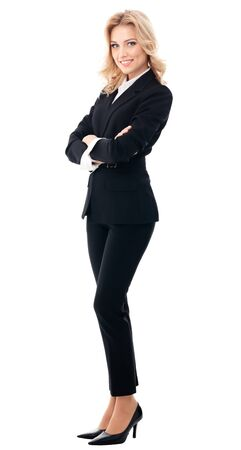Full body portrait of happy smiling businesswoman, isolated over white background. Caucasian blond model in business success concept.