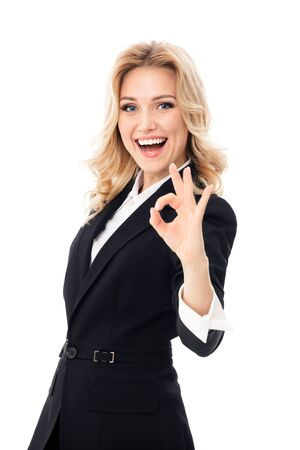 Happy smiling businesswoman showing okay hand sign gesture, over white background. Caucasian blond model in business success concept.