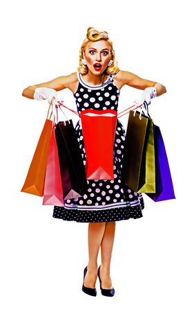 Full body of happy excited woman in pin up style dress in polka dot, holding shopping bags, isolated over white background. Caucasian girl posing in sales, consumer, retro fashion and vintage concept. Raster vintage illustration. Foto de archivo - 130857199