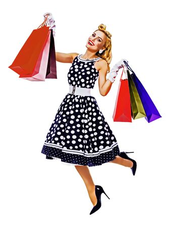 Full body portrait of jumping or levitating woman in pin up style black dress with polka dot holding shopping bags, isolated over white background. Sales, consumer, retro fashion. Raster vintage illustration concept.