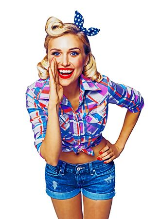 Beautiful happy excited woman holding hand near open mouth. Girl dressed in pin up. Blond model at retro fashion concept, isolated over white background. Rasted vintage illustration.