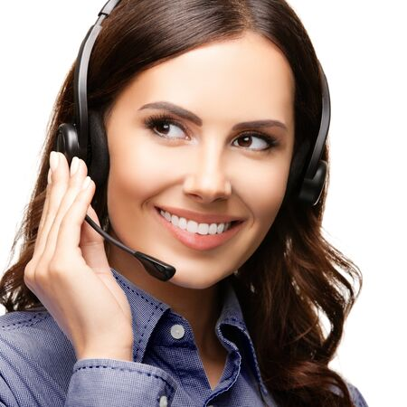 Call center customer support phone female operator or sales agent in headset, isolated against white background