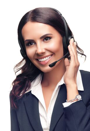 Smiling customer support phone operator in grey confident suit, isolated against white background 스톡 콘텐츠