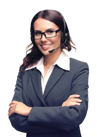 Portrait of smiling customer support phone operator in glasses and grey confident suit, with crossed hands, isolated over white background Stock fotó - 140244743