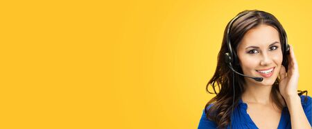 Call center service. Customer support phone sales female operator with copy space for some text or slogan, over yellow orange background. Banner composition.