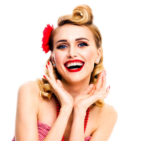 Excited surprised, very happy beautiful woman. Pin up girl with open mouth and raised hands showing cheerful toothy smile. Retro and vintage concept picture. Isolated over white background. Square.