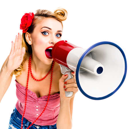 Happy excited, woman with megaphone, holding hand near her ear and shout something. Girl in pin up style, with open mouth in retro vintage studio concept, isolated over white background. Square photo.