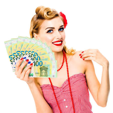 Happy thinking, looking up pinup beautiful woman holding fan of money euro cash banknotes, pin up style. Blond girl in retro and vintage studio concept. Over white background. Square image.