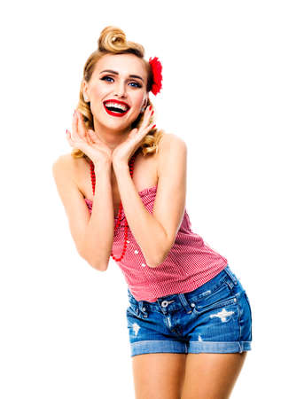 Excited surprised, very happy beautiful woman. Pin up girl with opened mouth and raised hands showing cheerful toothy smile. Retro and vintage concept picture. Isolated over white background.
