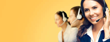 Contact Call Center Service. Customer support or sales agents. Group of callers or answering phone operators. Orange yellow background with copy space area for slogan or text. Confident style.