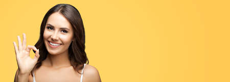 Photo of woman showing ok okay hand sign or zero gesture, isolated on orange yellow color background. Portrait of happy smiling gesturing brunette girl at studio. Wide horizontal banner composition. Standard-Bild