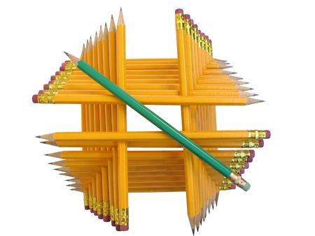 Pyramidal construction made of cloistered pencils 版權商用圖片