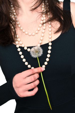 beautiful woman with dandelion in the hand photo