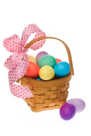 Easter egg basket with gala pink ribbon and multi colored eggs photo