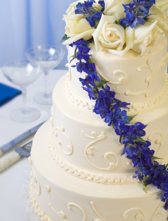 wedding food: traditional decorated wedding cake with blue delphiniums and champagne glasses