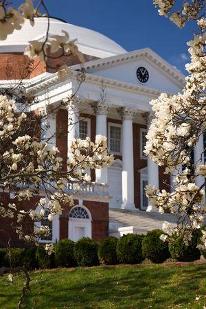 rotunda: University of Virginia Rotunda, designed by Thomas Jefferson, in springtime Stock Photo