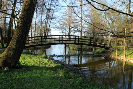 woden: woden food bridge with stream Stock Photo