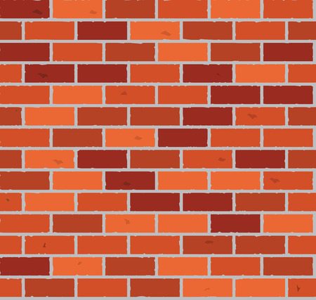 bakstenen muur: Red brick wall seamless Vector illustration background  texture pattern for continuous replicate.
