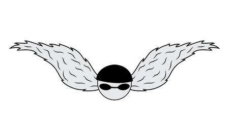 wings vector: biker emblem with wings vector