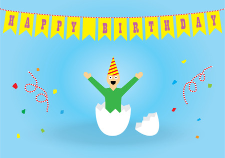 funny birthday: Funny birthday card in a simple style