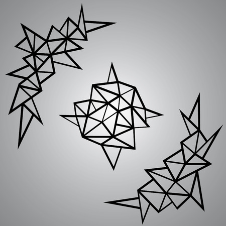 craftsperson: Geometric Corners Elements Vector illustration Illustration