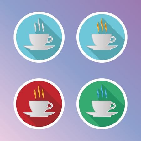 dysentery: Coffee Flat Icons Set. Vector elements for coffee time design.