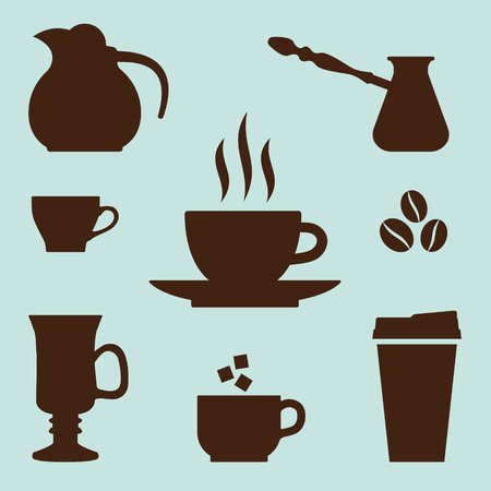 dysentery: Coffee Icons Set. Vector elements for coffee time design.