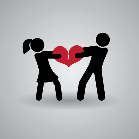Love and Relationship Stickmans. Broken Heart.