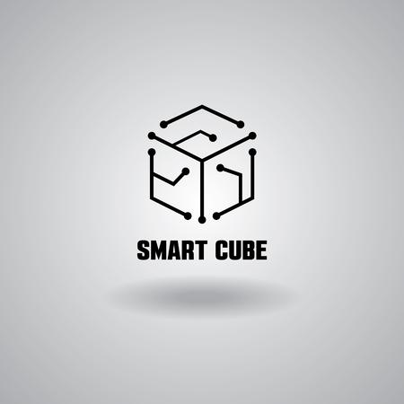 Technologie Smart Cube logo, informatique et informatique, hi-tech et innovante, électronique