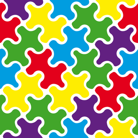 assembling: Vector seamless pattern. Puzzle texture. Repeating abstract background with tangled line