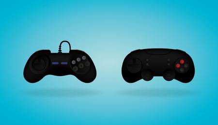 old pc: Black Gamepad. Video game controller. Vector illustration. Illustration
