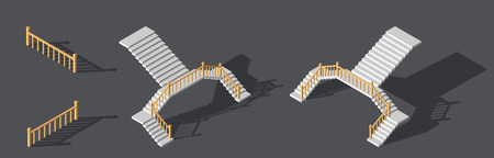 Isometric stairs with a rail. Vector illustration.