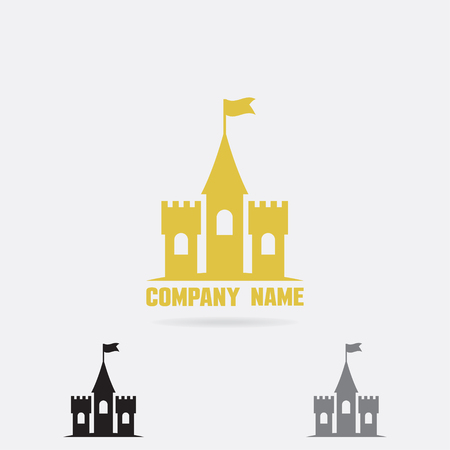 Spectacular Castle logo template. Fortress vector icon.