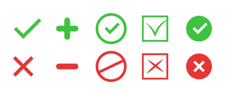 verify: Correct and incorrect icons. True and false signs. Vector.