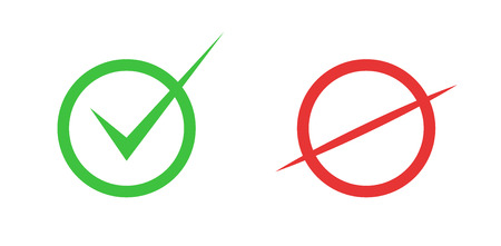 Correct and incorrect icons. True and false signs. Vector.