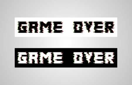 Game over glitch design. Vector for banners, web pages, screen savers, presentations. Illustration