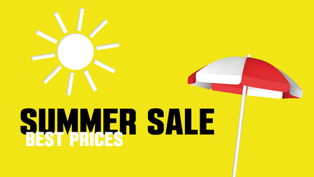 Summer Sale banner with a beach umbrella. Vector design template for promotion. Illustration