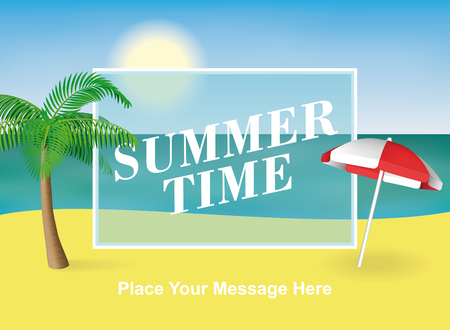 Summer time background. Palm tree and sun umbrella on the beach. Vector illustration for banners and promotions. Illustration