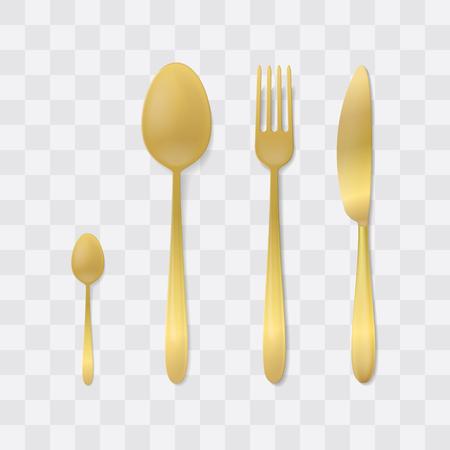 Set di posate d'oro. Forchetta, cucchiaio e coltello d'argento. Vettore di posate vista dall'alto. Impostazione della tabella.