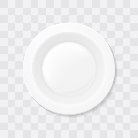 Empty white soup plate. Top view Realistic bowl. Illustration