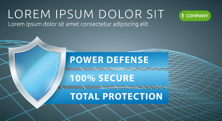 Security Data Protection. Web Technology Defense Banner. Antivirus Vector Illustration.