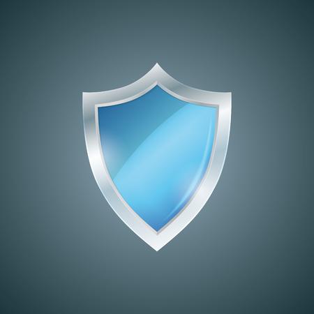 buckler: Vector blue shield. Defense icon. Protection concept. Illustration