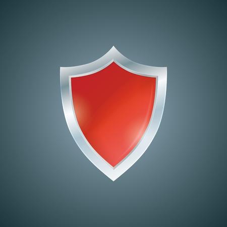 buckler: Vector red shield. Defense icon. Protection concept.